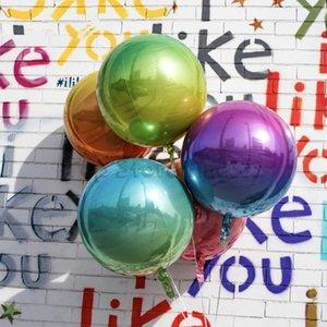 Gökkuşağı 4D Alüminyum Folyo Balon 22 inç Disko Balon Degrade Renk Metal Balon Alüminyum Filmi 4D Renk Topu Net Kırmızı Gökkuşağı Kırışıklık Ba