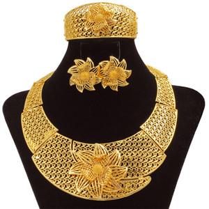 Liffly Dubai Braut Hochzeit Schmuck Sets für Frauen Afrikanische Mode Gold Schmuck Blumen Große Halskette Ohrringe Armband Ring