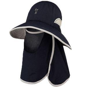 Gorra para hombre Sombreros de pesca Protección UV Sombreros para el sol UPF 50 + Cuello Cara Cubierta de solapa A prueba de viento Sombrero de ala ancha para hombres Mujeres Verano Trabajo al aire libre Gard