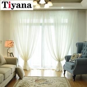 Tiyana Moderne Einfarbige Tüll Gardinen für Schlafzimmer Tür Leinen Fenster Screening Balkon Mode Weiß Voile P035D3