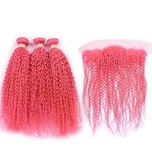 Silanda волос Pure Pink Kinky завитые Remy человеческих волос ткачество Связки 3 переплетений С 13X4 Lace фронтальным Закрытие Бесплатная доставка