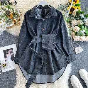 Woherb Корейский Новый поворот воротник с длинным рукавом джинсовой блузка сплошной цвет Свободные рубашки Vintage Fashion Streetwear Blusas 91570