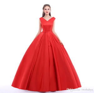 Red Carpet Long Prom Gowns With Belt Sexy V Neck Ball Gowns Open Back Lace Up Vintage Wedding Dress Party Evening Real Photos