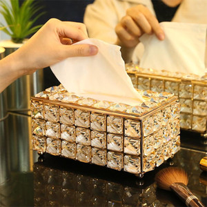 Rhinestone Tissue Paper Box Rack Accessories mesa do escritório Caso Facial guardanapo titular bandeja para Home Hotel Car