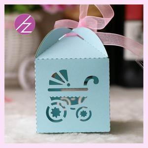 50pcs / lot Diseño Con cinta de la boda cajas de dulces de chocolate Cajas Baby Shower fiesta de cumpleaños suministra boxes escultura exquisitos