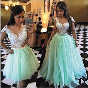 2020 Turquoise Blue Prom Dresses Ball Gown Cap Sleeve Elegant Detachable Skirt Prom Gown Robes De Cocktail