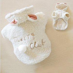 La ropa de vestuario de moda para mascotas perros pequeños Escudo ovejas perrito blanco con capucha Chihuahua Ropa En invierno cálido ropa XS S M L XL liberan 2019