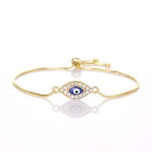 Classic Blue Evil Eye Charm Bracelet Femme Plata Oro Color Cobre Enlace de Cadena Mujeres Pulseras Brazaletes Joyería al por mayor