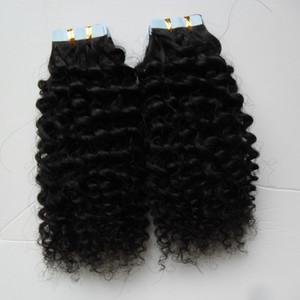 Capelli ricci crespi Trama umana 100G 40PCS Nastro per capelli umani Biondo invisibile Nero Capelli veri 1 fascio di capelli Remy Marrone