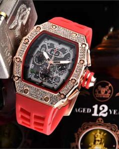 Новое поступление Мужские спортивные часы топ бренд качество роскошь череп Кварцевые наручные часы скелет циферблат бриллианты безель черный резиновый ремешок