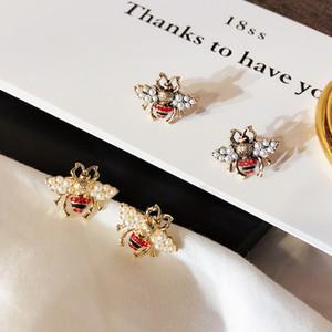 Vintage Bee Stud orecchino donne perla strass insetto ape orecchino gioielli in bronzo oro Fashon per regalo festa
