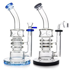 "High Quality 9.5"" Glass Bong Water Pipes Dab Rig with 4mm quartz banger and glass bowl Big Bubbler recycler bong glass pipe"