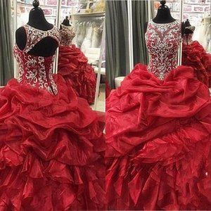 2019 New Red Quinceanera Dresses Crew Neck Beaded Sequins Tier Ruffles Long Organza Ball Gown Junior Sweet 16 Prom Party Pageant Gowns