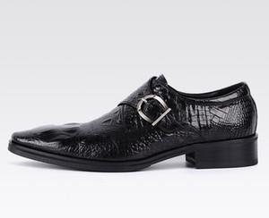 새로운 남자 파티 드레스 신발 악어 패턴 통기성 패션 웨딩 캐주얼 남성 캐주얼 플랫 고품질의 가죽 아파트 발가락