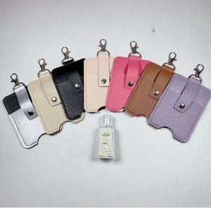 Desinfectante para las manos Botella clave botella de perfume del bolso de la cadena de almacenamiento portátil pequeño de piel Caso llavero Bolsa DDA53