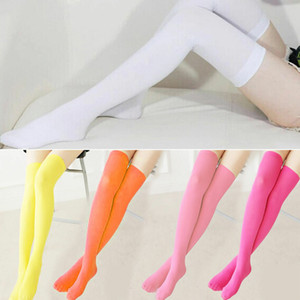 Medias de las mujeres de la nueva moda Sexy caliente del muslo alto sobre los calcetines hasta la rodilla Medias largas de algodón para niñas accesorios de las señoras