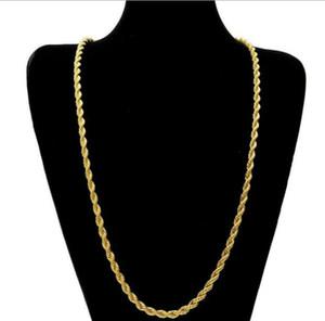 14k مطلية بالذهب حبل تويست سلسلة للرجال سلسلة 24 بوصة 5 ملليمتر رجل بنين