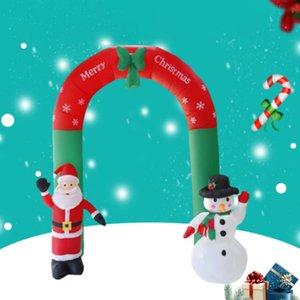 Partido al aire libre los ornamentos de Navidad Año Nuevo 2.4M inflable arco de la puerta de Santa Claus muñeco de nieve de Navidad Casa Comprar Yard decoración del jardín