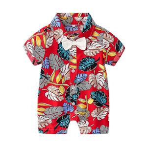 Fashion Baby Boys Casual Romper Summer leaf Printed Short Sleeve Toddler Jumpsuit Lapel Bow Tie Kids Beach Jumpsuit Y1704