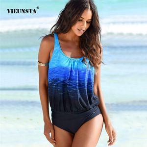 VIEUNSTA S-3XL Solto One Piece Swimsuit Mulheres sexy push up Swimwear Praia desgaste gradiente de impressão monokini Brasileiro Maiô