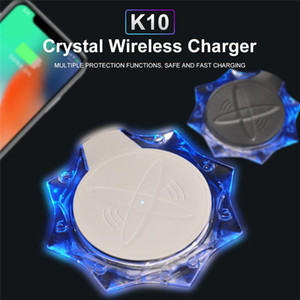 K10 Crystal inalámbrica Tarifa Pad 5W QI inalámbrico cargador rápido para Samsung para el iPhone Huawei P30 Pro envío