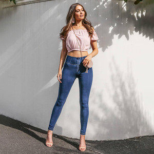 Melody cuatro maneras estirable altura de la cintura de los pantalones vaqueros oscuro / azul claro de la cremallera Denim Jeans super cómodo flaco Mujer 2019