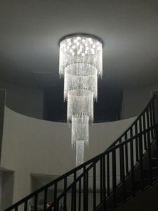 Beau et à la mode Nouveau design long moderne lustre en cristal LED lumière 5 couches lustres hall de l'hôtel de luxe