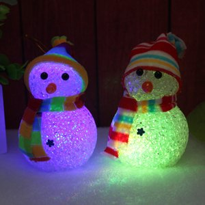 Christmas Snowman LED Crystal Lights Christmas Snowman With Lights Christmas Doll Colorful Night Lights Party Decorations RRA1997