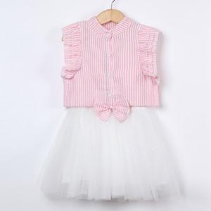 Infant Summer Boutique jupe nouveau design fille costume chemise manches volantes Seersucker + arc taille jupe filles vêtements ensemble