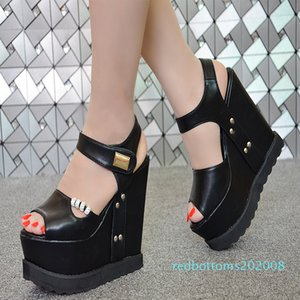 2018 summer new wedge 15 cm nightclub sexy thick-soled Muffin sandals super high heel women's sandals simple elegant high heels r08