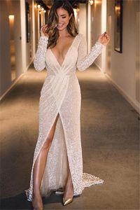 Prom vestidos De Gala sexy Sparkly scollo a V abiti lunghi 2020 a maniche lunghe ad alta Split partito convenzionale degli abiti di gala Jurken