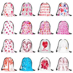 57 colori di amore di giorno di stampa coulisse sacchetto lettera cuore Zaini Borsa bambini Belle Festival caramelle sacchetti regalo di San Valentino Z0034