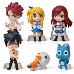 6 pcs   set Fairy Tale Model Happy Gray Fairy Tail Toy PVC Action Figures Toys Free Shipping