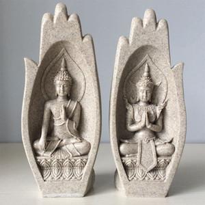 2 pezzi Mani Sculture statua del Buddha Monk Figurine Tathagata India Yoga Home Decoration Accessori Ornamenti Dropshipping T200703