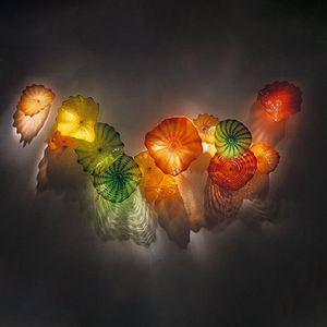 Cristal de Murano montaje en pared Cuerpo de Iluminaciòn Soplado de vidrio soplado flor Lámparas de pared arte decorativo placas de vidrio arte de la pared envío libre por encargo