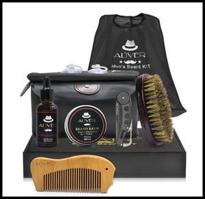 ALIVER 7PCS اللحية اللحية العضوية الطبيعية النفط شمع بلسم مقص فرشاة الشعر يترك على الشعر لينة رطب اللحية مع صندوق البيع بالتجزئة