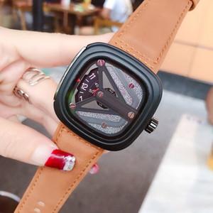 7 Sexta-feira Mens moda relógios de alta qualidade couro genuíno Strap Quartz Big Modern Style Dial melhor presente Reloj Montres pour hommes orologi