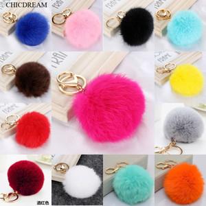 Multi Color rose de fourrure de lapin boule Keychain Porte-clés Sac en peluche voiture Pendentif Anneaux porte-clés pour les femmes 2020 Nouveau bijoux à la mode