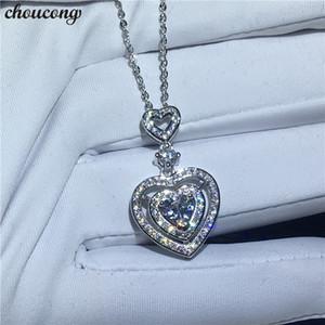 choucong klassische herzform halskette für frauen 5a zirkon cz echt 925 sterling silber verlobung hochzeit anhänger mit halskette