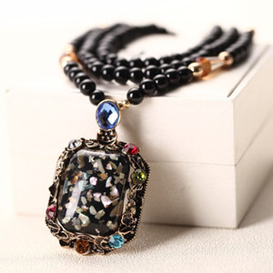 Wholesale-6 Styles Choose Women Shell Beads Pendant Necklaces Boho Cat Waterdrop Long Sweater Chain Necklace NE219