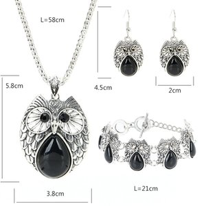 Retro Turquoise Owl Jewelry Sets 925 Silver Pendant Earring Bracelet Necklace Fashion Chain Handmade Amulet Gifts for Her Woman
