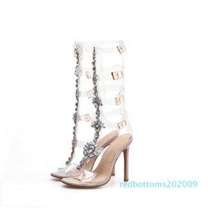 Женская Rhinestone Цветы Сандалии Open Toe Бедро-High Сандал Высокие каблуки Прозрачный Clear выдалбливают насосы R09