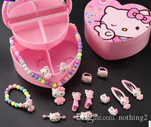 Designer jewelry children's jewelry sets cartoon 14psc kinds of jewelry bracelets necklace rings lovely pink free of shipping