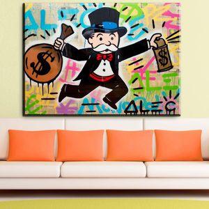 """Alec Monopoly Graffiti Handcraft peinture à l'huile sur toile, """", MONOPOLY MONEY TAG"""" décoration murale art mural, 24 * 32inch non étiré"""
