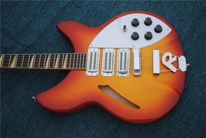 جودة عالية 6 سلسلة، ricke 360 الصوتية الغيتار الكهربائي الغيتار الكهربائي، الكرز الأحمر الجسم مع الورد الأصابع شحن مجاني