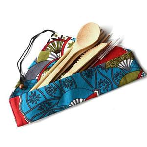 nueva Bamboo cubiertos conjunto portátil Cubiertos Sets 7PCS / SET cuchillo cuchara tenedor palillos de paja Estudiante vajilla del viaje de vajilla