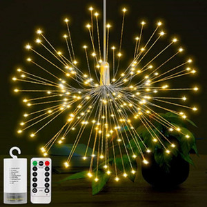 Fai da te 100/150/200 LED Firework Explosion Star Fairy Christmas Light con telecomando 8 modalità Hanging Starburst LED String Ghirlanda