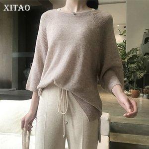 Xitao Fina Perspectiva camisola Alças malha elegante 2019 Moda Outono Pequeno fresco pulôver completa camisola de manga WLD2976