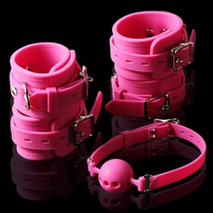 100% Silicone Sex Fetish Bondage Set Wrist Ankle Cuffs Hand Feet Restraint toys Mouth Ball Gag Sex Toy For Couples Sex Products T200620