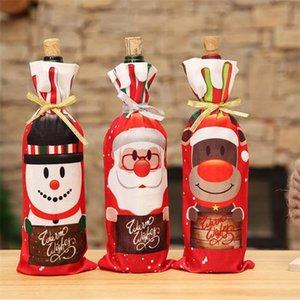 Table de Noël Décor de dîner vin rouge de Noël Père Noël arbre bouteille couverture Sac Bouteille Sets Décor pour le Nouvel An Noël dîner